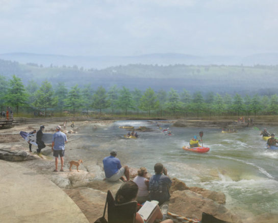Artists rendering of Lake Francis at a ground level view.